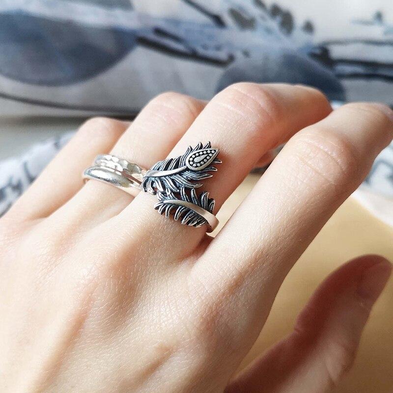 V. ya do vintage thai prata pavão pena anel para as mulheres anel redimensionável feminino s925 prata esterlina casamento anéis de noivado