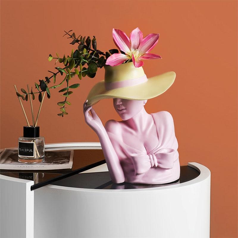 Jarrón de resina con diseño creativo de diosa, jarrón de estatua, maceta para plantas, flores, mesa de comedor, contenedor de organización, decoración para sala de estar
