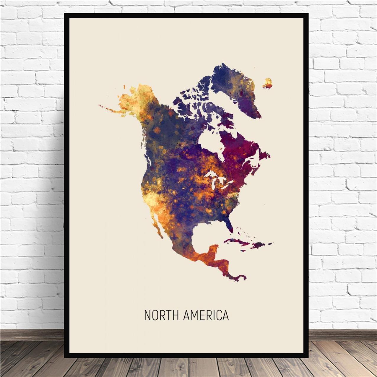 Mapa da aguarela américa do norte arte lona poster imprime casa decoração da parede pintura