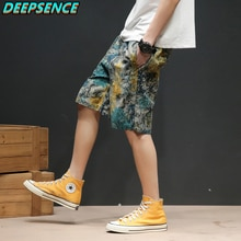 Men Spring And Summer Die Dye Chinese Style Short Pant Men Cotton Polyester Drawstring Loose Fit Cas