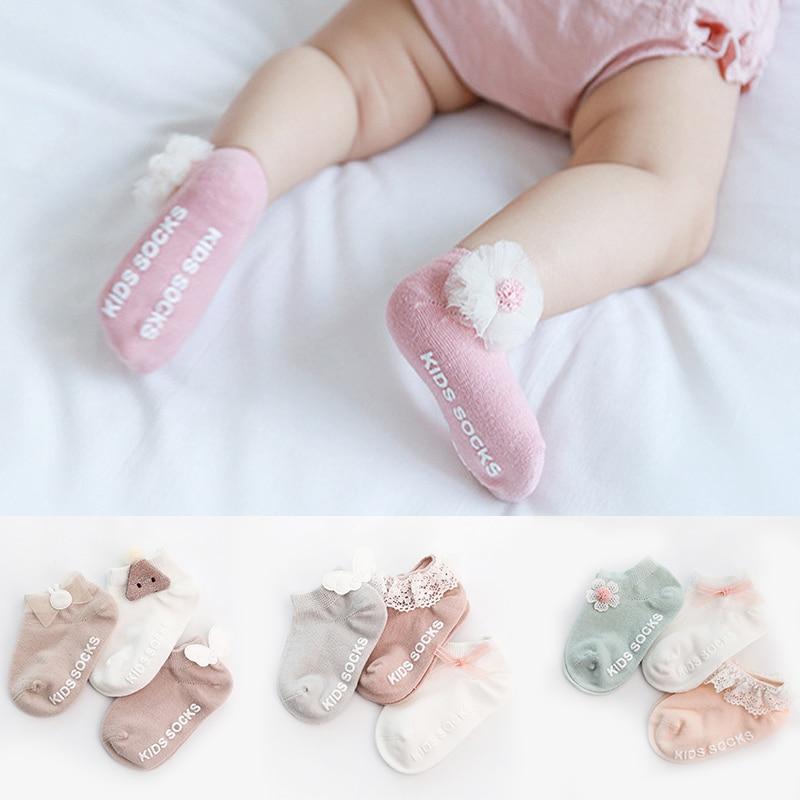 3PCS Baby socks non-slip toddler newborn cute decoration baby stuff for newborns baby socks with rubber soles 2019 New