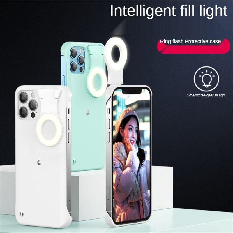 20x DHL Led Selfie الدائري ملء ضوء قضية الهاتف آيفون 12 11 XS برو ماكس XR 6 7 8 Plus مع ضوء فلاش الجمال صور الغطاء الخلفي