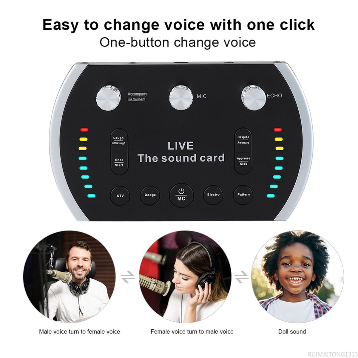 Sound Card USB Audio Interface External Internet LIve Streaming Musik Live Applicable or Recording Microphone Guitar Rnchor enlarge