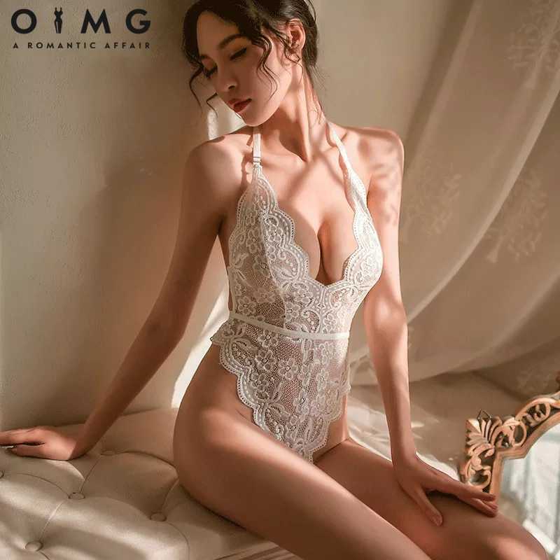 Sexy Hollow Lingerie Women Bra Set Lace Perspective Deep V Hot Erotic Underwear One Piece Halter Ope