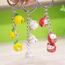 1 шт. мультяшная креативная кошка богатства Maneki Neko Lucky Bell брелок милый брелок с помпоном love doll