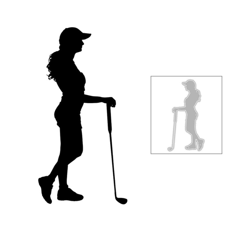 2020 novo quente diy shorts longo chapéu de cabelo menina golfe olhar lateral silhueta corte de metal dados e para scrapbooking folha sem selos