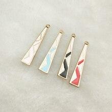 10 pièces émail triangle breloque géométrique bijoux accessoires boucle doreille pendentif bracelet collier breloques en alliage de zinc bricolage trouver 7x30mm