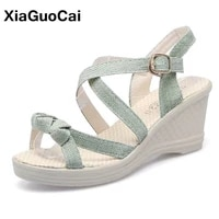summer women sandals cane high heels shoes wedges platform female shoes casual ladies beach footwear leisure big size hot sale
