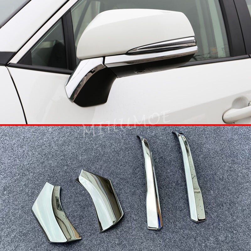 Tiras de ajuste de espejo Retrovisor lateral cromado para Toyota RAV4 2019 2020 Accesorios