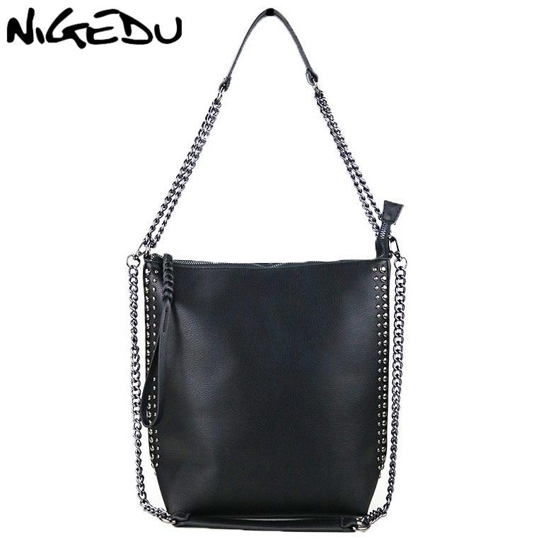 NIGEDU Chains women Shoulder Bags 2021 PU leather Female Handbag ladies Totes Sac A Main brand design rivet lady Messenger bag