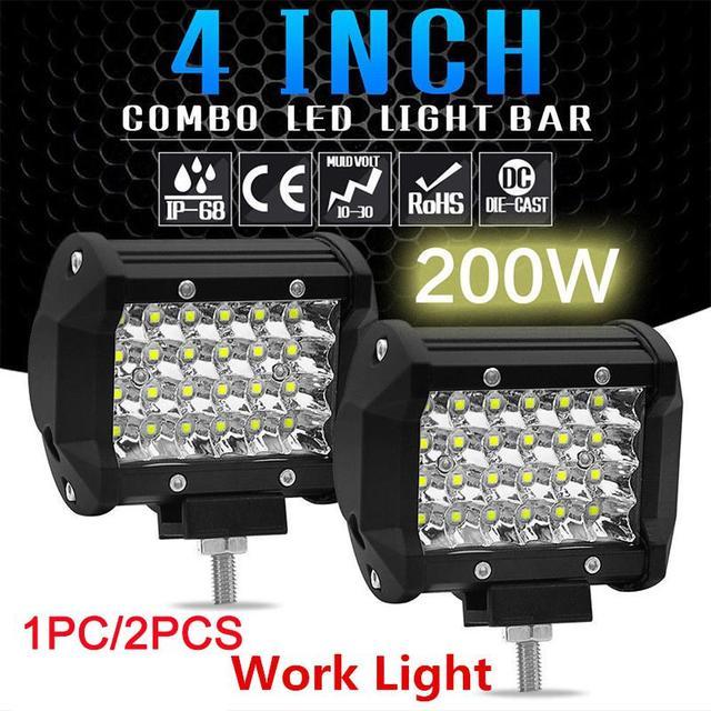 """1PC/2PCS 200W 4"""" LED Combo Work Light Bar Spotlight Off-road Driving Fog Lamp for Truck Boat 12V 24V Headlight for ATV Led Bar"""