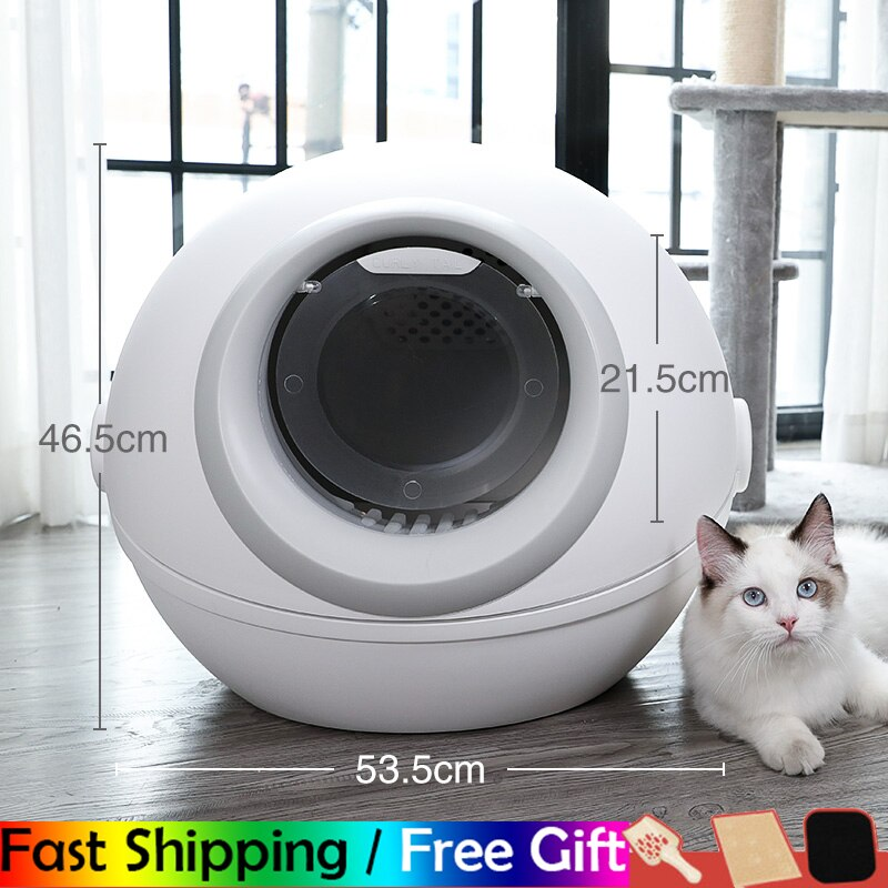 NO.1 Round Large Closed Self Cleaning Cat Litter Box White Training Shorthair Cat Litter Shovel Chat Toilette Pet Accessories