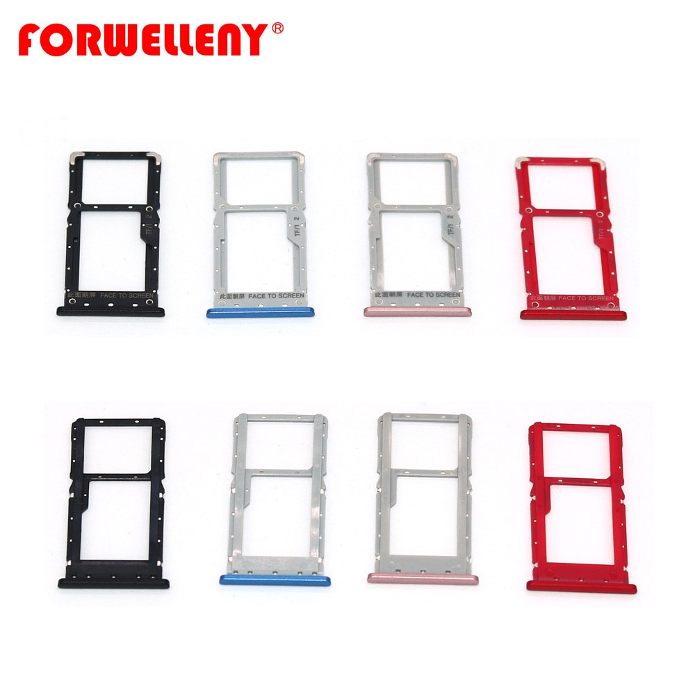 For Xiomi redmi note 6 pro  Micro Sim Card Holder Slot Tray Replacement Adapters black blue red pink недорого