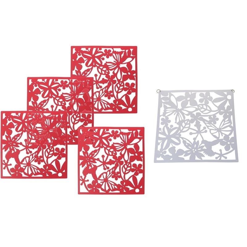 Divisor de pantalla con diseño de mariposa, pájaro, flor, 8 Uds., Panel divisor, cortina para habitación, decoración del hogar, 4 Uds., rojo y 4 Uds., blanco