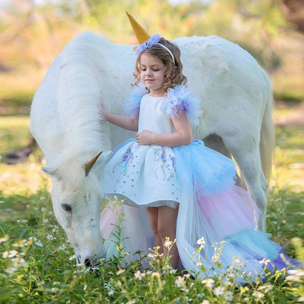 Cute Unicorn Girls 2pcs Dress Set Gown Baby Girl Princess Brithday Christmas Party Rainbow Dress 2-10 Yrs Children Girl Clothing