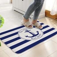 nautical theme floor mats navy blue rug kitchen mats anchor pattern living room carpet decor non slip suede bath mats 6040cmpc