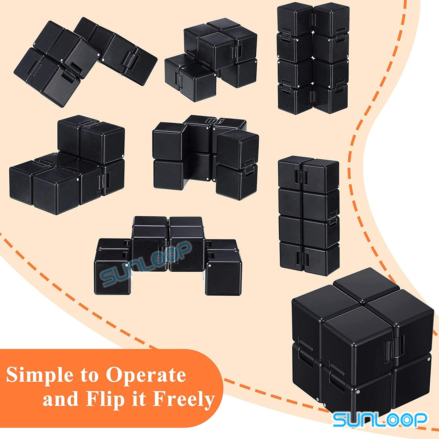 4 PCS Fidget Toys Pack Adult Stress Relief Toy Infinity Figet Cube Ball Flippy Chain Cam Fidget Controller Pad Mini handheld Set enlarge