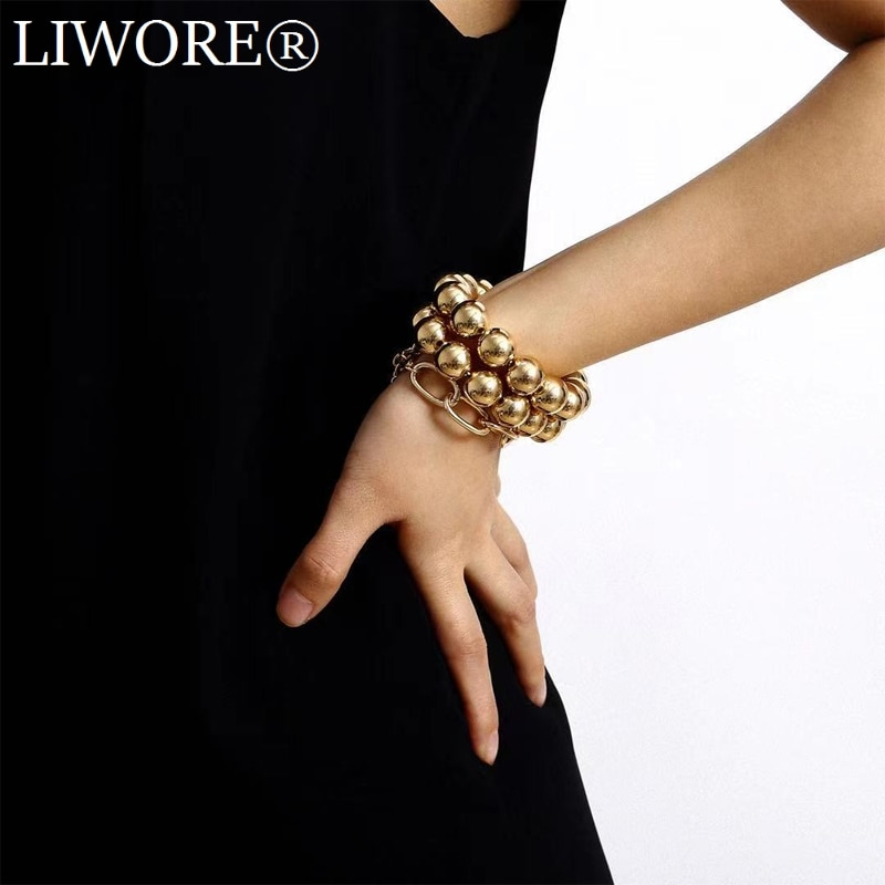 Liwore Retro Exaggerated Round Bead Chain Bracelet Set For Women Oversized Multilayer Beaded Gold Ladies Bracelet Jewelry bohemian black moon bracelet lotus lotus leaf round stone flower bead chain combination 6 piece set for women