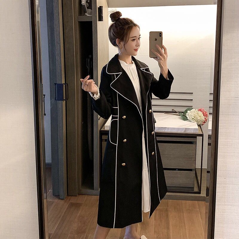 Large size coat fat mm autumn contrast color fashionable casual retro temperament popular long windb