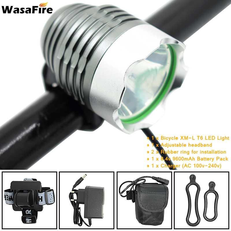 1800 lúmenes lámpara de luz delantera para bicicleta T6 LED linterna de aluminio súper brillante para ciclismo con batería 18650