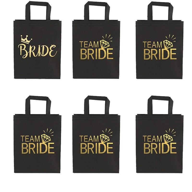 Equipo de novia para ser no tejido bolsas de regalos de decoraciones de boda para Bridsmaid Bachelorette partido De gallina noche decoración suministros