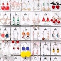 korea style simple enamel cartoon clip on earrings without piercing asymmetric stars tassels for women cute ear clip new