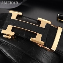 Belt men's crocodile belly layer cowhide automatic buckle business leisure young people genuine H be
