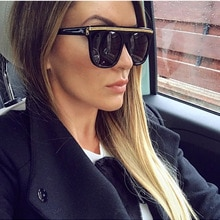 Square Women Sunglasses Oversized Big Frame Female Sun Glasses Vintage Brand Designer UV400 Flat Top