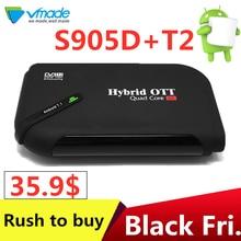 Vmade Hot-vendita TV boxe DVB-T2 Android 7.1 WiFi TV Box Amlogic S905D 1G ROM 8G di RAM 2.4G 100M Supporto 4K H.265 DVB T2 Media Player
