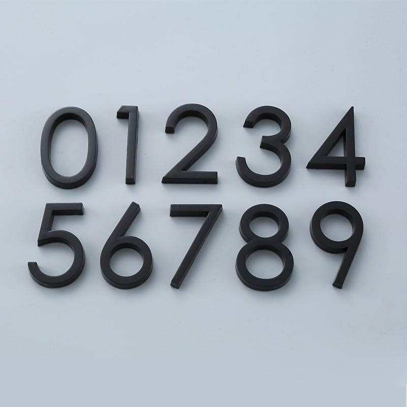 Black Door Number Stickers Self Adhesive House Number Door Plaque Sign for Apartment Hotel Office Door Address Room Number