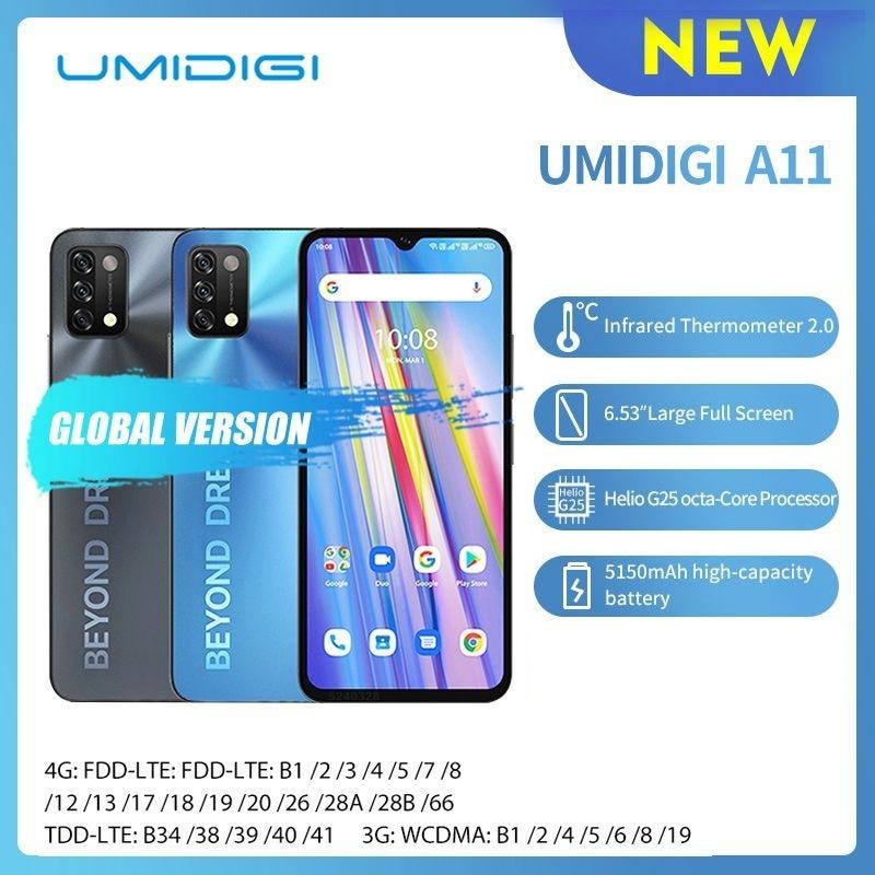 Смартфон UMIDIGI A11 глобальная версия 3/4 Гб + 64/128 ГБ, Android 11 HelioG25, 6,53 дюйма, тройная камера 16 МП с искусственным интеллектом, HD + 5150 мАч