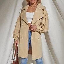 2021 Women New Trench Coat Khaki Double Breasted Lapel Long Sleeve Belt Autumn Winter Fashion Loose