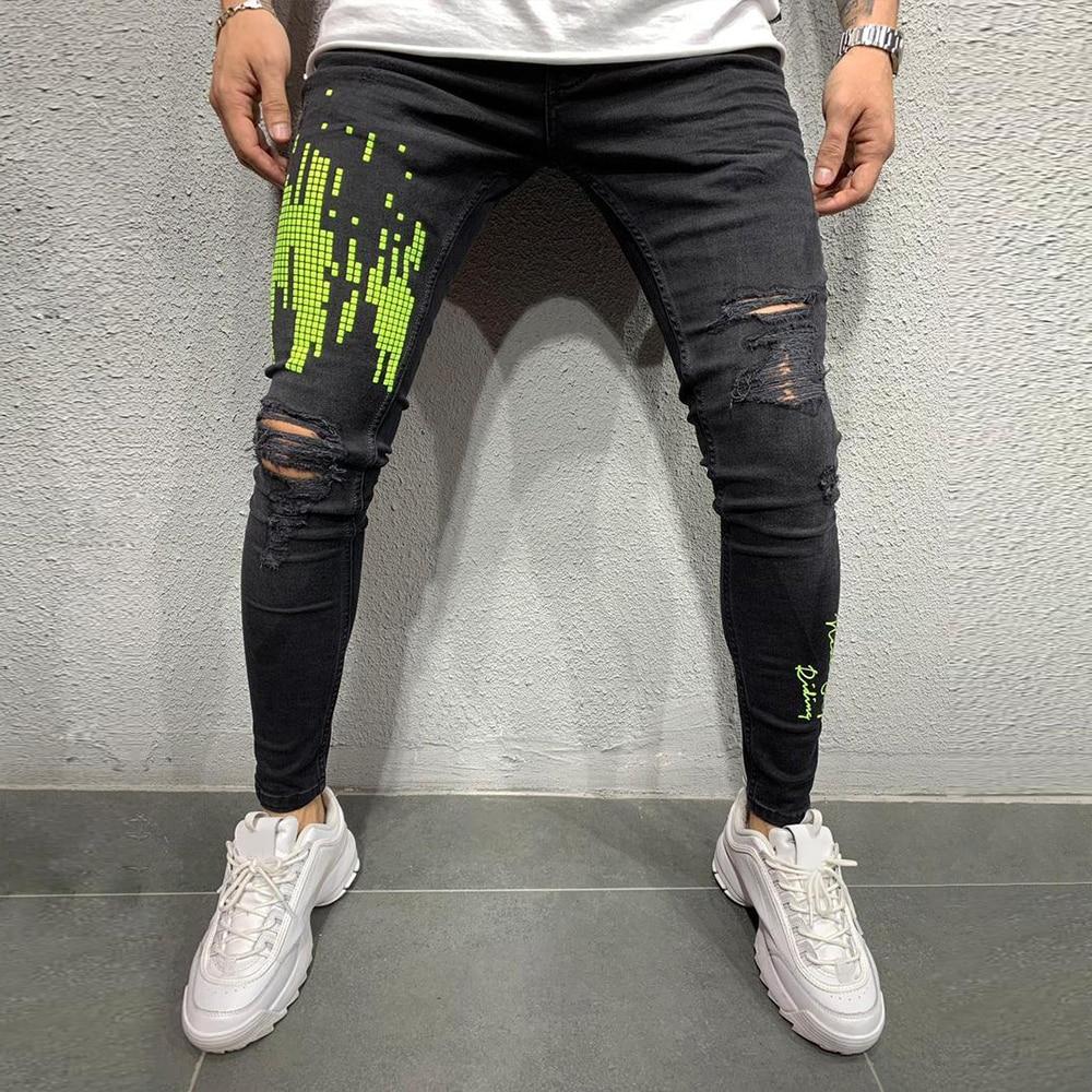 Jeans Men Print Patchwork Hole Ripped Mens Black Jeans Fashion 2019 Male Skinny Denim Pencil Pants Slim Trousers Streetwear D25