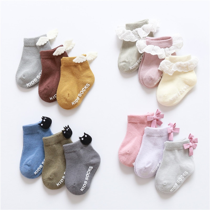 3 pairs baby girl boy socks lace ruffle Bow newborn bebe cheap stuff floor anti slip sox kids infantil clothes accessories