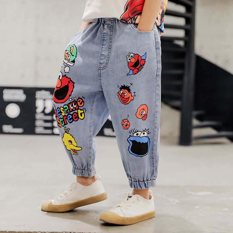 New Boys Casual Jeans Kids Boys Trousers Spring And Summer Thin Denim Pants Kids Children Cartoon Print Pants Bottoms Clothing