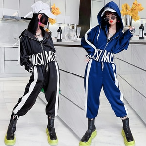 Sweet Cool Girls jackets + Pants 2Pcs Sets Hooded Letter Coats Joggers Track Sweatpants Outfits Student Girls Children's Clothes