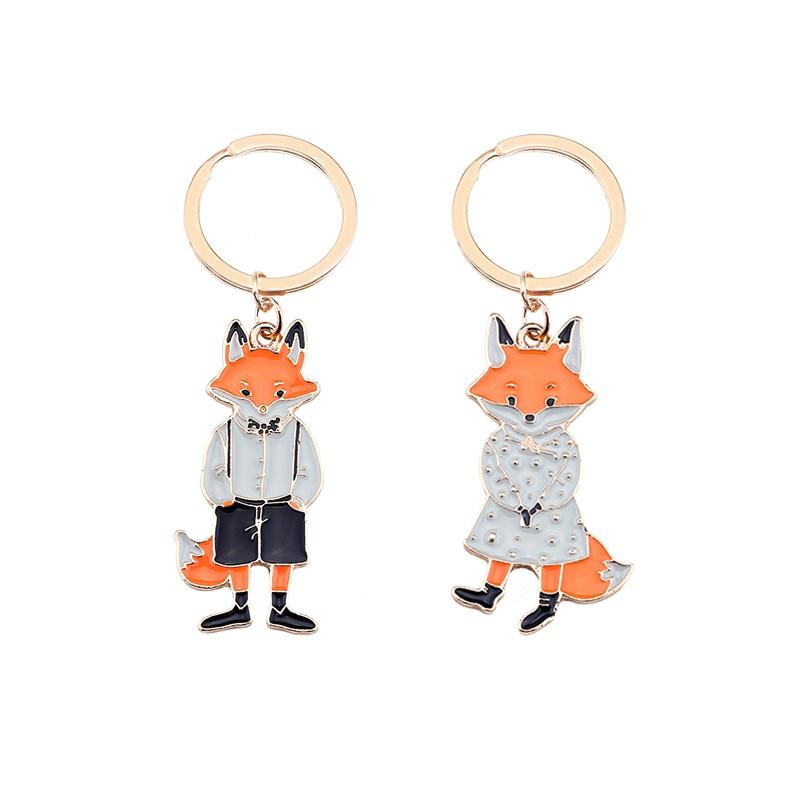 2019 último par de llaveros con forma de zorro Animal colgante de aleación Material de San Valentín joyería bonita de moda regalo Venta Directa