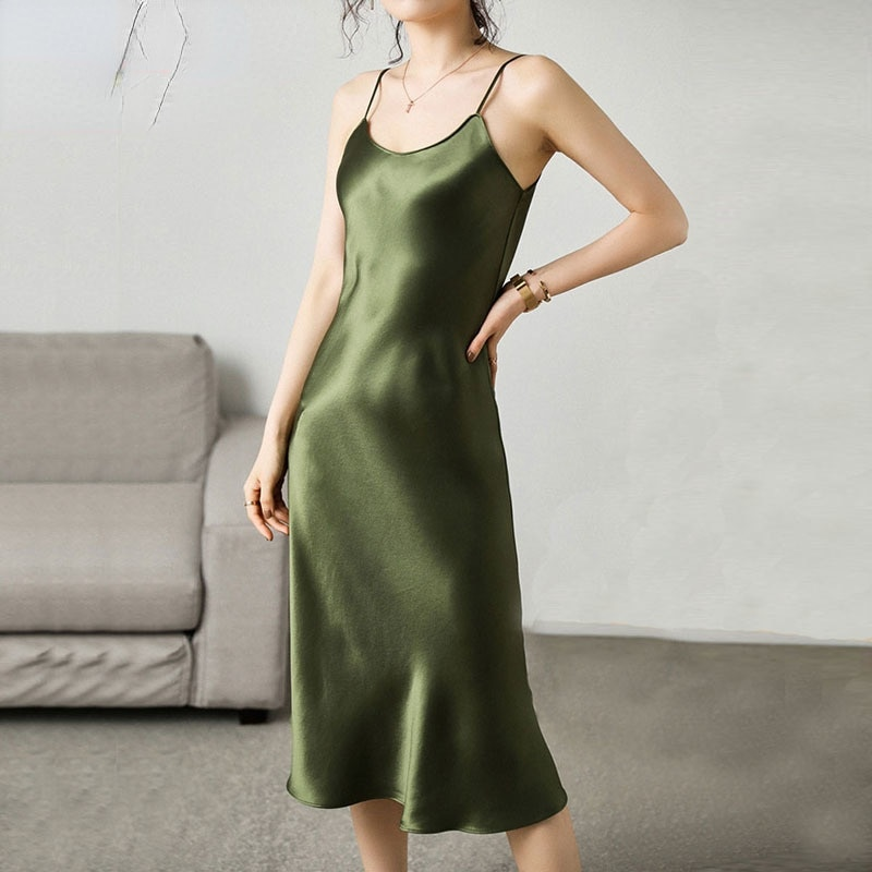 Woman Dress Satin Vintage Spaghetti Strap Evening Party Black Sundress Long Wedding Pure Silk Dress Green 2021 Summer