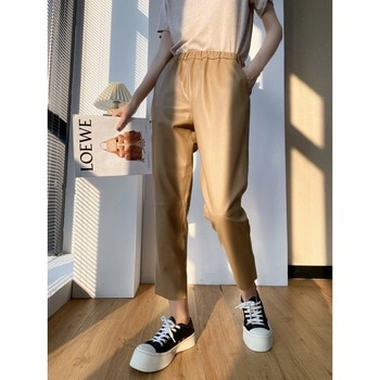 High Quakity Autumn 2021 New Leather Women's Pants Trousers Pure Sheepskin Pants Joker Pants Genuine Leather Casual Good Match
