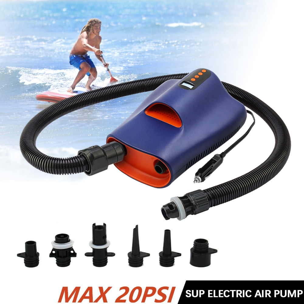 New 2021 20 PSI SUP Portable Electric Air Pump with Dual Stage Inflation & Deflation LCD Digital Electric Pump With 6 Nozzles