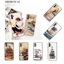 NBDRUICAI Café Libro personalizado foto teléfono funda para Samsung nota 3 4 5 6 7 8 9 10 pro M10 20 30