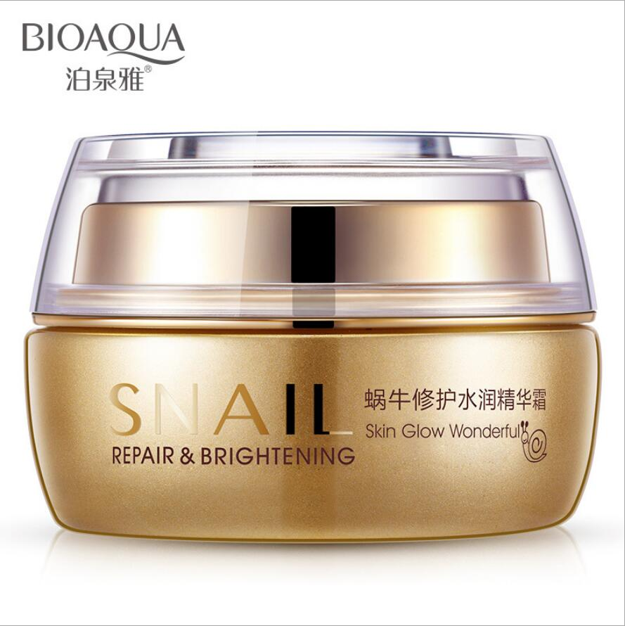 BIOAOUA The snail repair face Cream Moisturizing shrink pores brighten skin tone Oil control skin care product 50G Free shipping