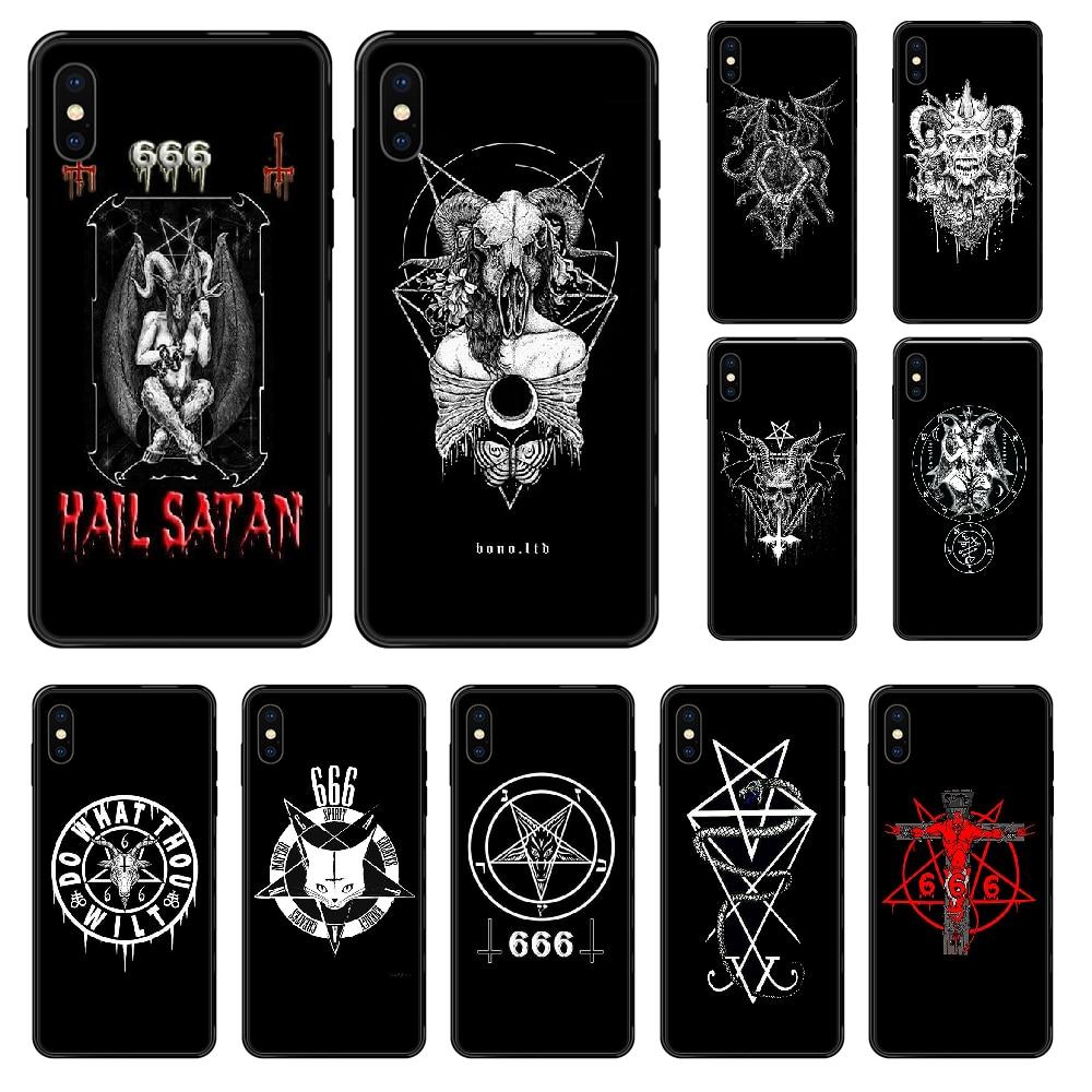 Pentagrama 666 demoníaco satânico telefone estojo para iphone 4 4S 5 5S se 5c 6s 7 8 plus x xs xr 11 pro max 2020 pintura preta etui