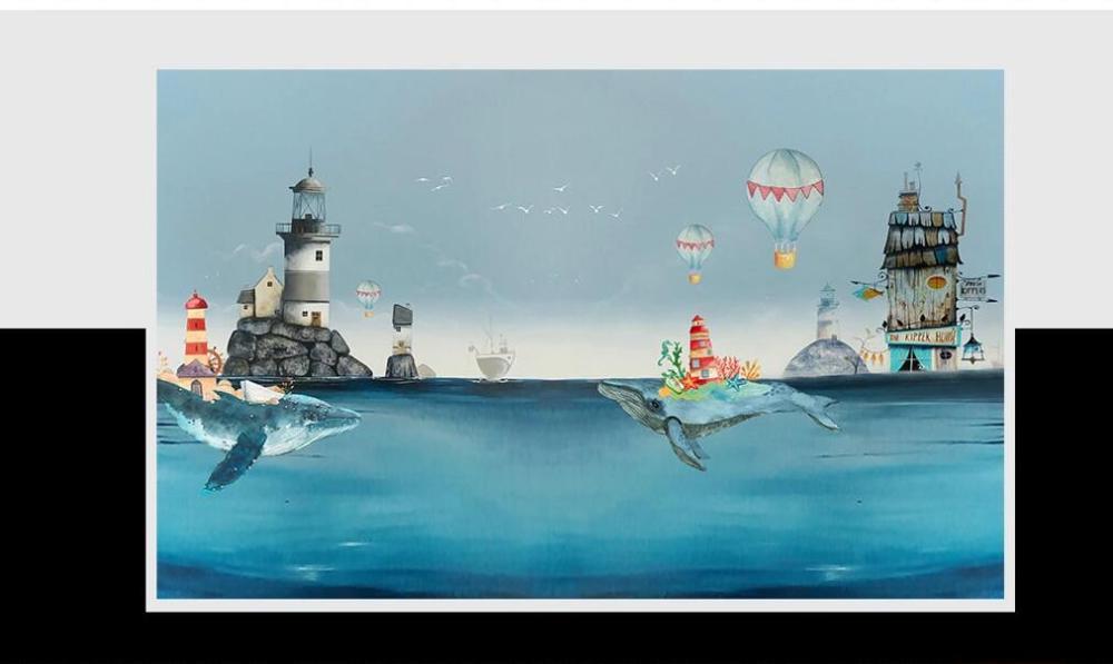 XUE SU Custom wall cloth Nordic creative watercolor Mediterranean sea whale children's room background wall paper mural