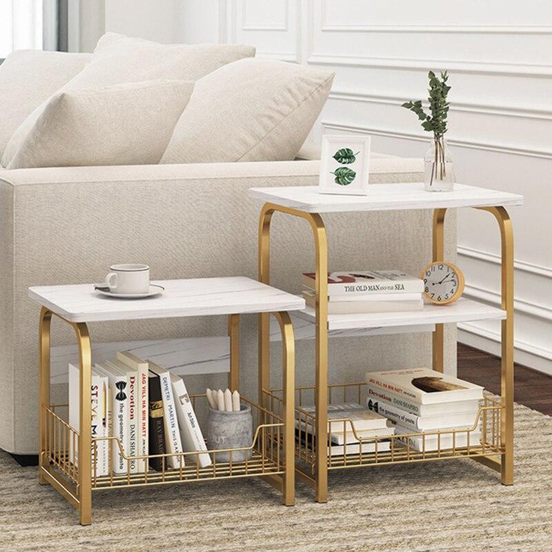 2 ~ 3 уровня мраморный узор журнальный столик деревянный чайный столик белый диван торцевой стол тумбочка с корзина для хранения полка для сп...