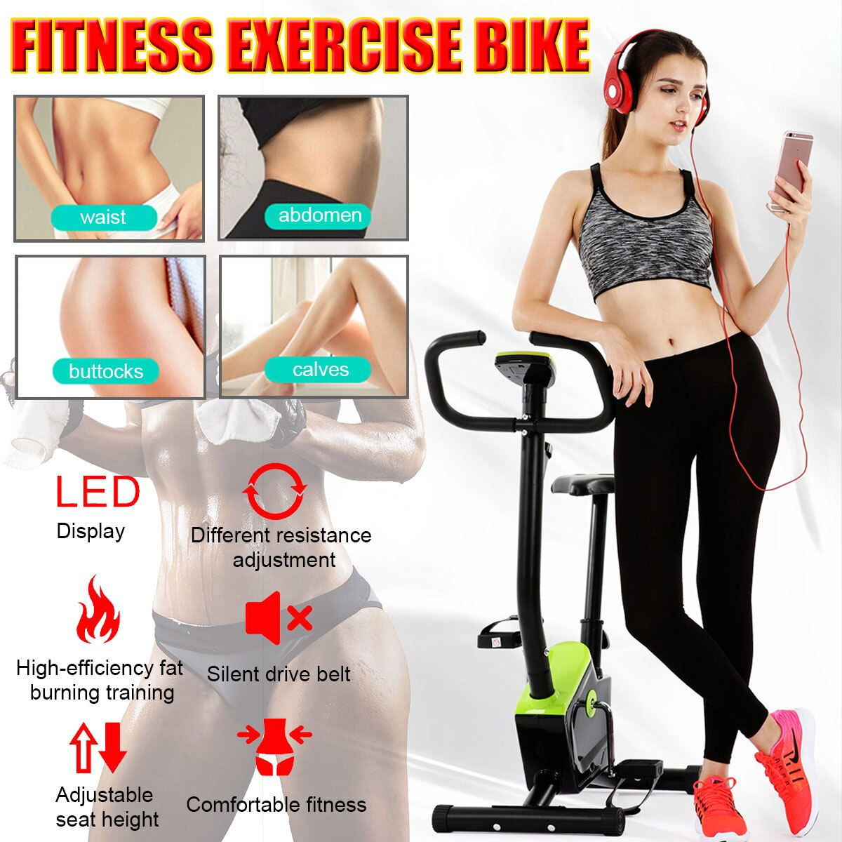 Indoor Cardio Exercise Bike Home Trainer Cyclette Fitness Workout LED Display Exercise Machine Cycling Trainer Bearing 120 KG