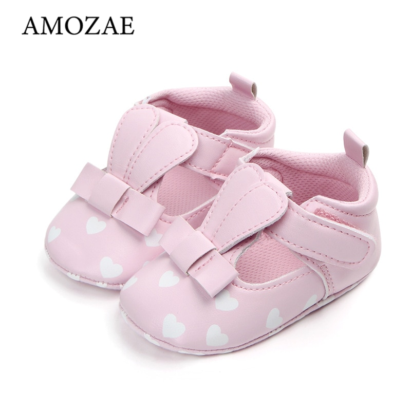 Baby Girl Princess Shoes Cute Rabbit love Pattern  First Walker PU Leather Soft Sole Anti-slip Casual