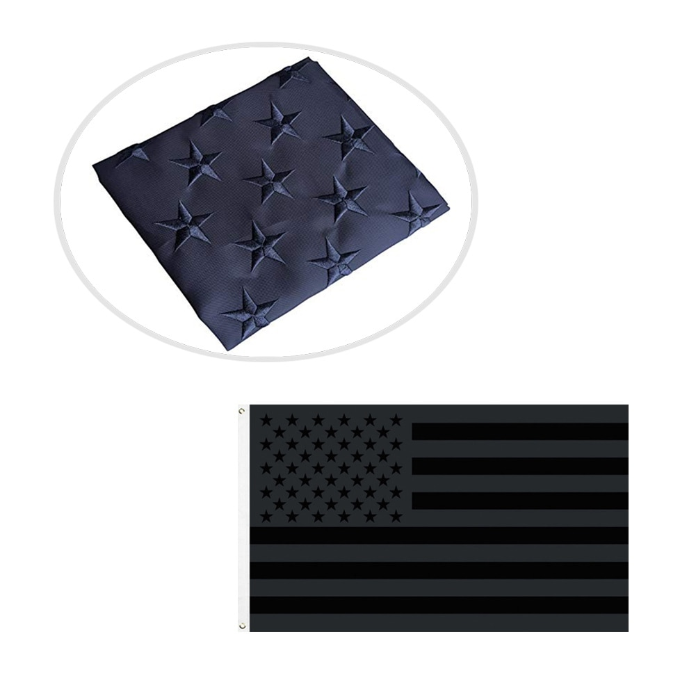 Polyester And Brass Grommets All Black American Flag 3x5 Outdoor Indoor-double-sided Printing-black American Flag-double Stitch недорого