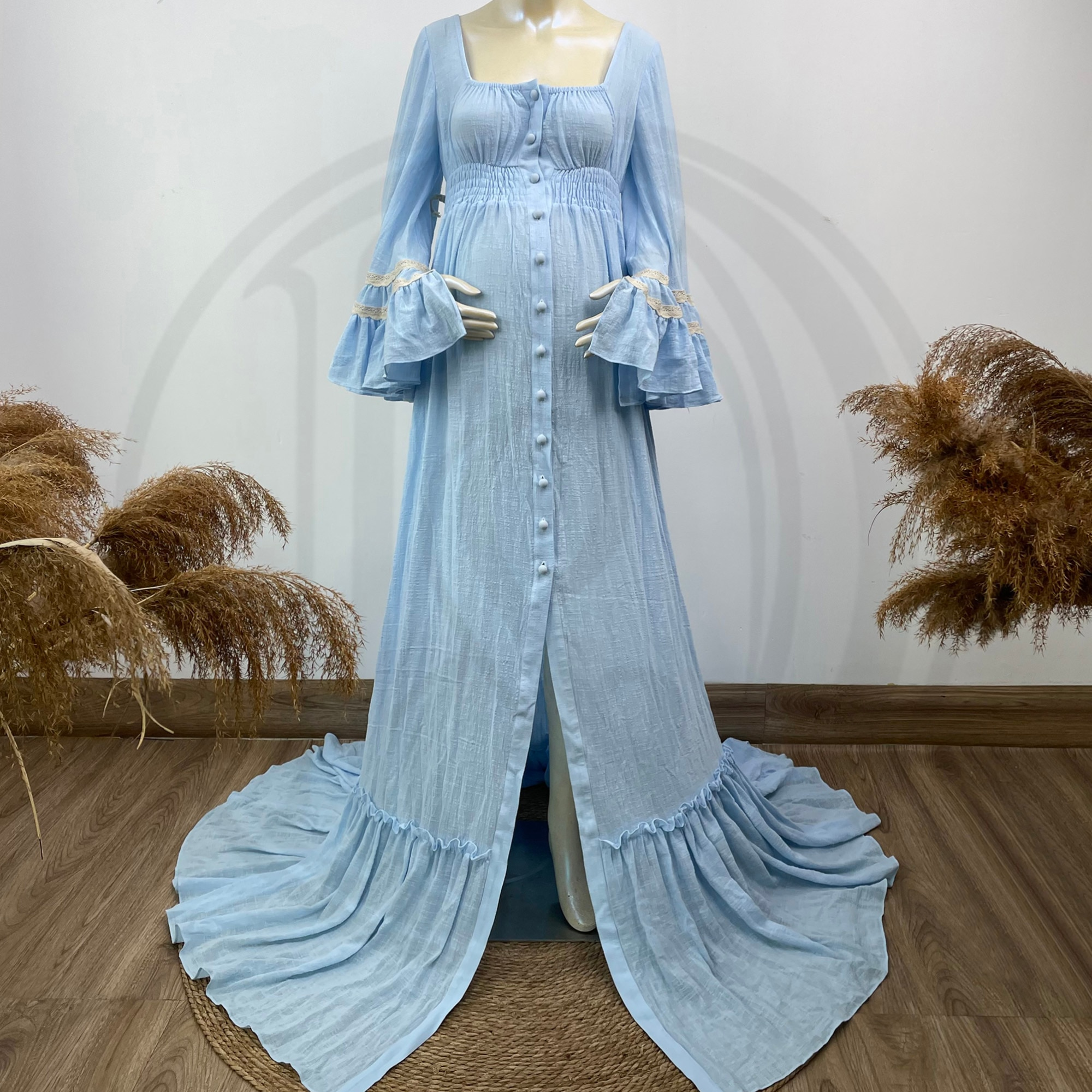 Retro Photo Shoot Prop Cotton Kaftan Full Sleeves Robe Maternity Dress Evening Party Costume for Women Photography Accessories