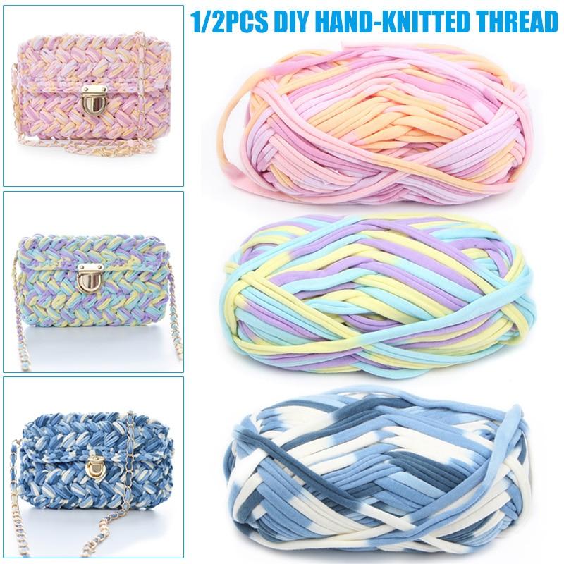 Cordón elástico de 30/60 yardas/100% de lazo reciclado para manualidades de jardín herramienta de bricolaje impresión colorida y teñido de mano hilo de punto can C